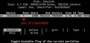 cfdisk make bootable multiboot usb