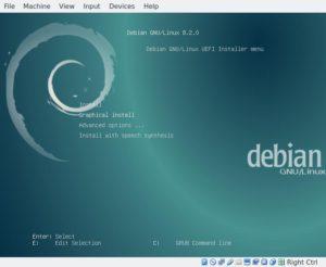 Debian installer bootloader menu