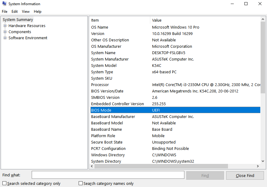 windows 10 uefi system information
