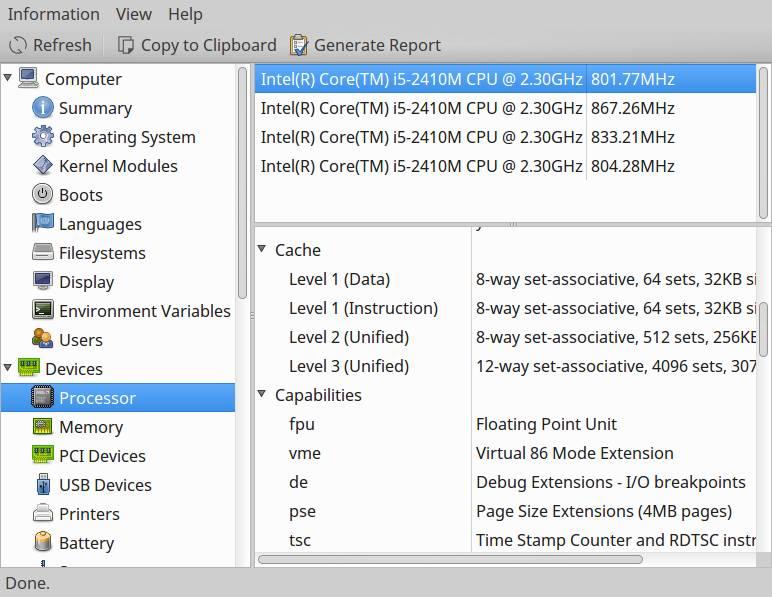 hardinfo find cpu info linux