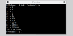 run javascript from command line factorial calculator
