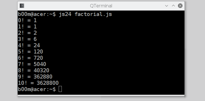 run javascript from command line factorial calculator