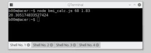 BMI calculator run javascript from command line