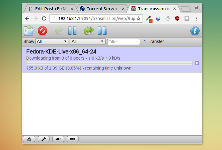 Download torrents on OpenWrt with Transmission web interface