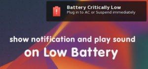 Linux low battery alert
