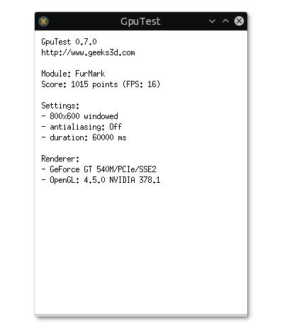 nvidia optimus ubuntu furmark test