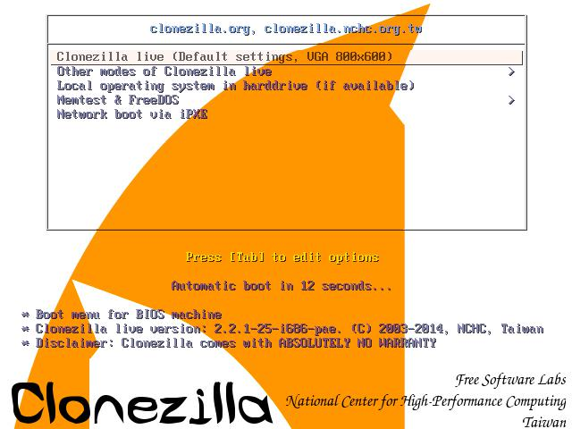 clonezilla live linux distro