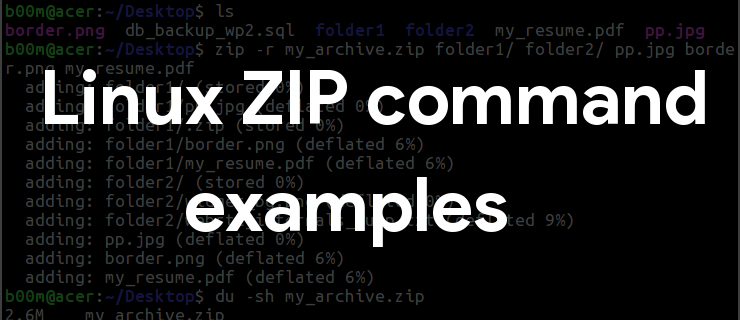 linux zip command example