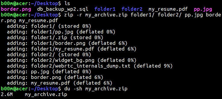 linux zip file folder recursively