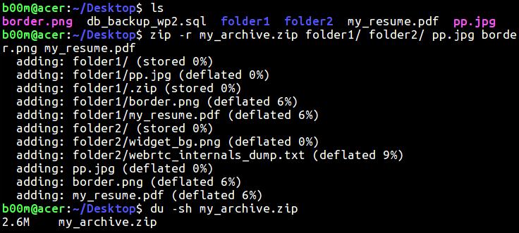 linux zip file folder recursively