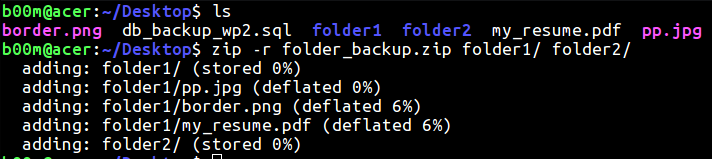 linux zip folder recursively