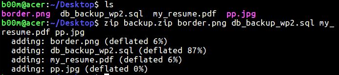 linux zip multiple files
