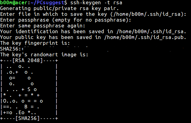 password less ssh login generate key