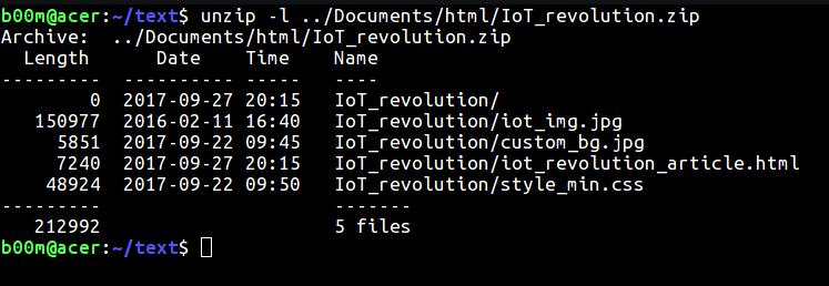 unzip list files