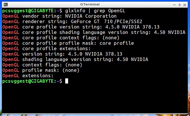 nvidia driver ubuntu glxinfo