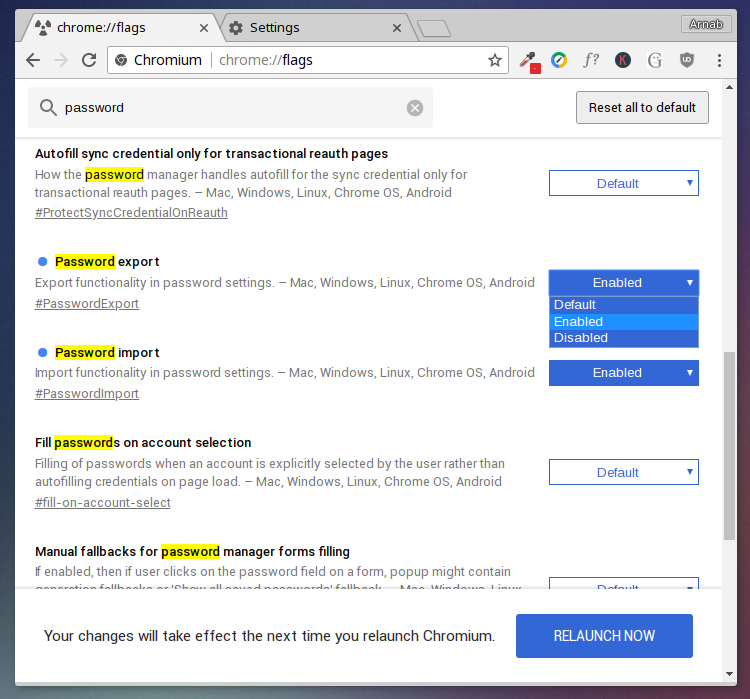enable chrome password export and import
