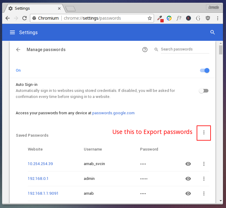 chrome password export option