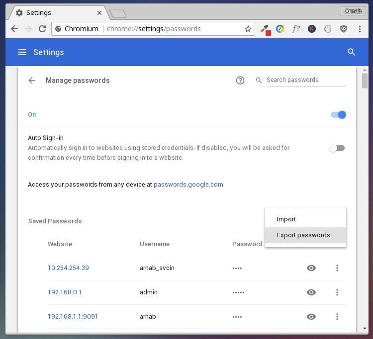 chrome export passwords to csv