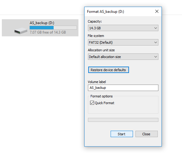 format USB drive to FAT32