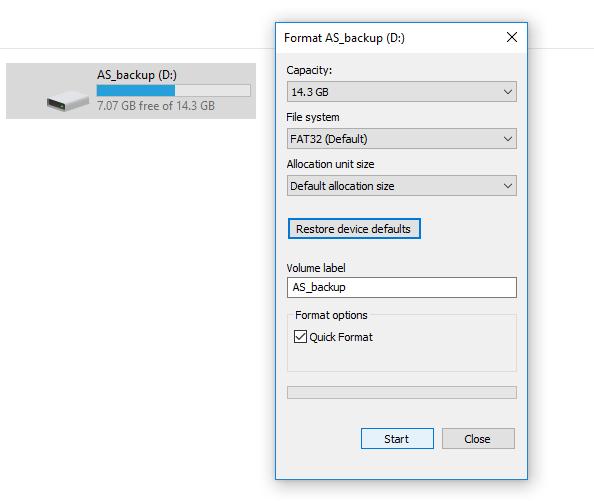windows 10 installation usb format