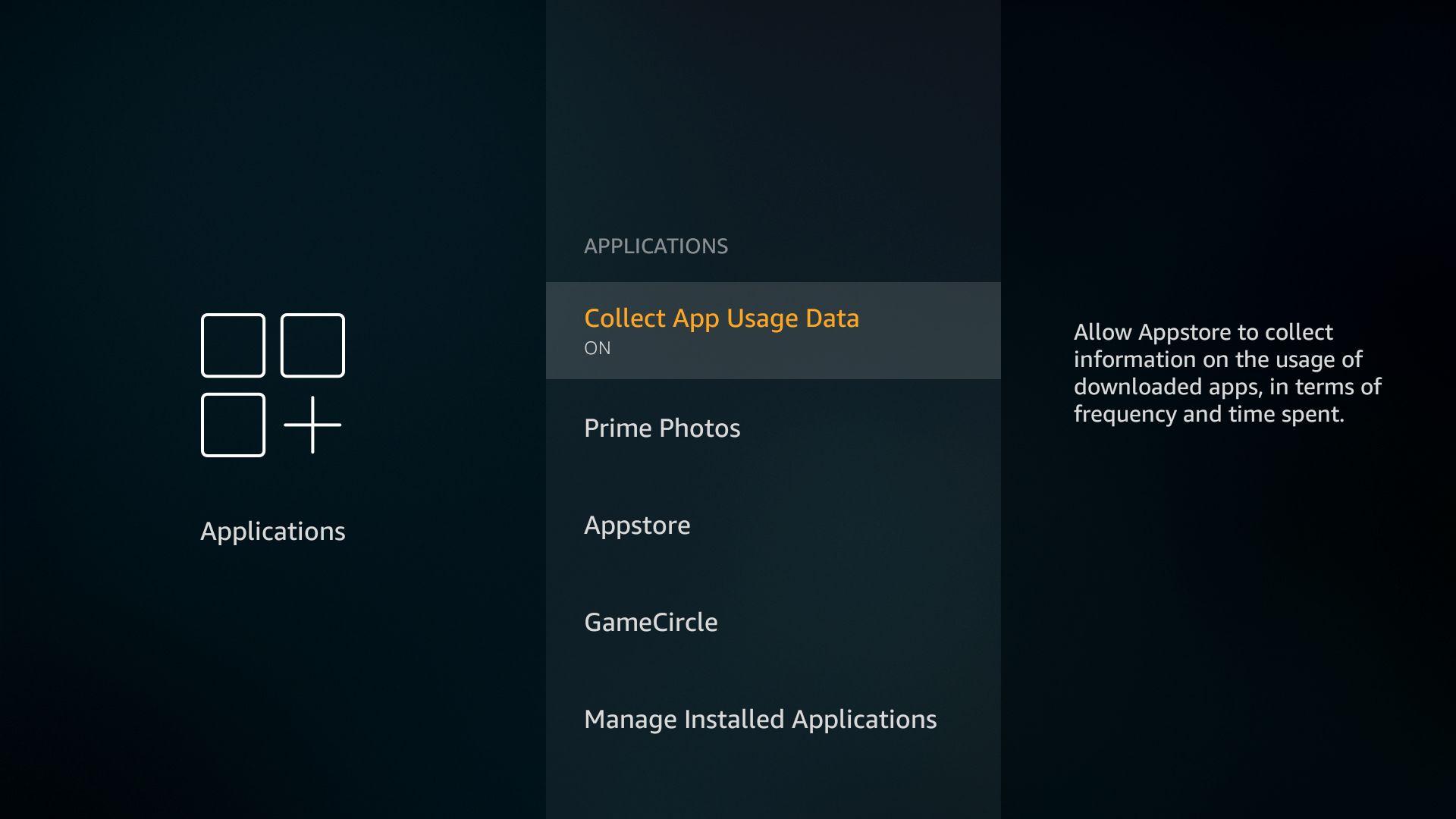 firestick disable app usage data