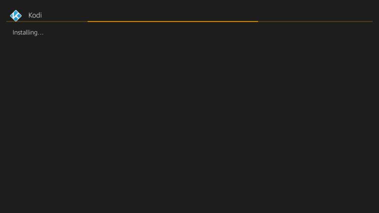 Installing kodi progress bar