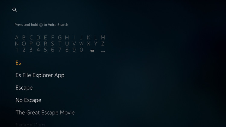 Type text for ES file explorer