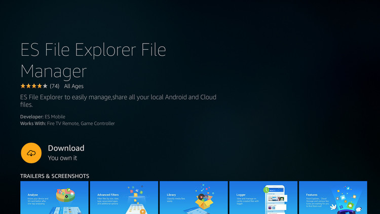 Install ES File Explorer on Amazon Fire TV Stick