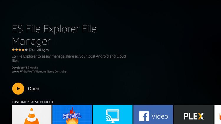 launch ES File Explorer on Amazon Fire TV Stick