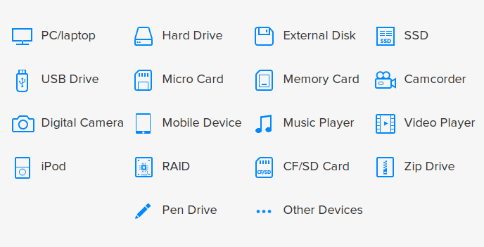 easeus data recovery supported devices