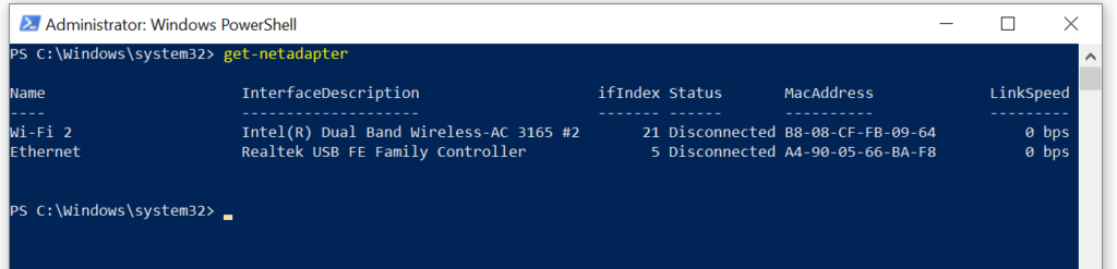 powershell get network interfaces