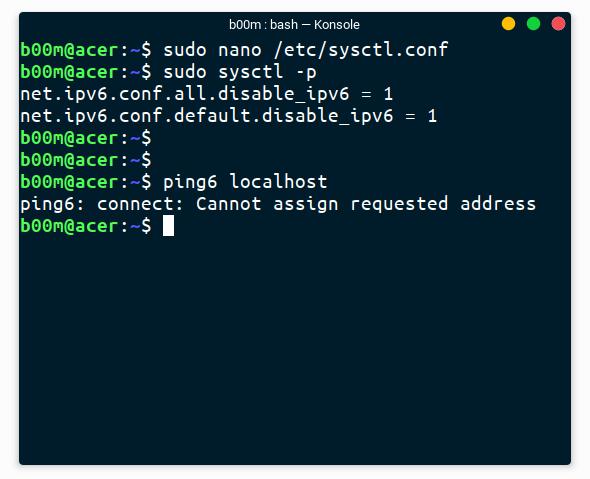 disable ipv6 linux