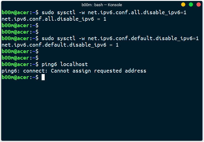disable ipv6 with sysctl command