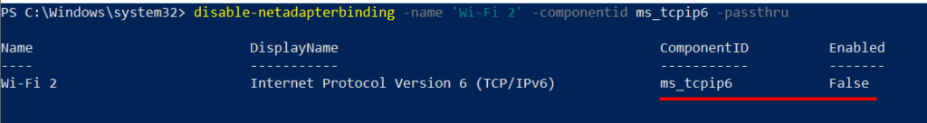 PowerShell disable ipv6