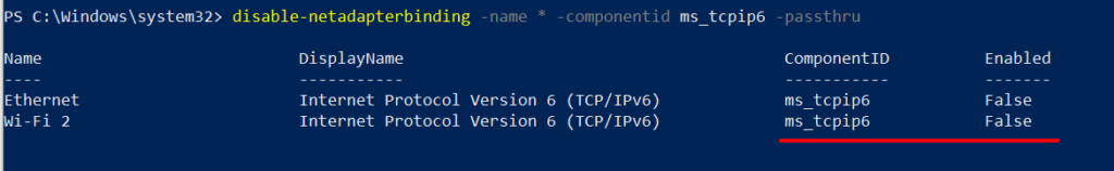 powershell command to disable ipv6 on all interfaces