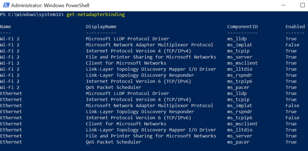 windows 10 get network adapter bindings