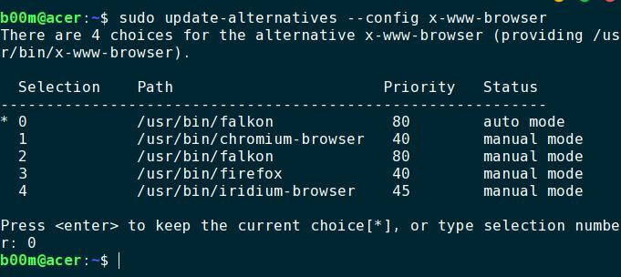 update-alternatives change default browser linux